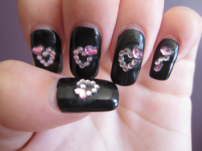 Pink & Black nails close up
